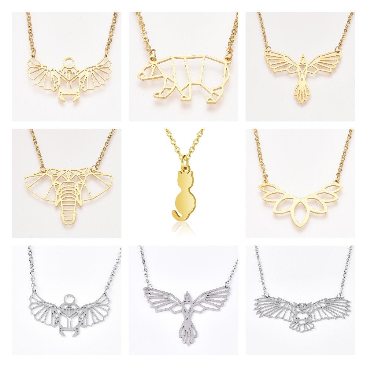 Ожерелье с подвеской в форме животного из нержавеющей стали, кулон в виде золотого Scarab, совы, слона, кабельная цепь, ожерелье для женщин и муж...