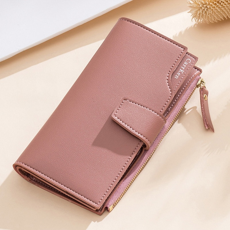 dudini fashion korean style wallet pu leather long section wallet women printing geometric pattern zipper 1 fold women wallets 2021 New Fashion Women Wallet Soft PU Leather Zipper Wallets Long Women's Clutch Wallet Female Designer Coin Card Purse Black