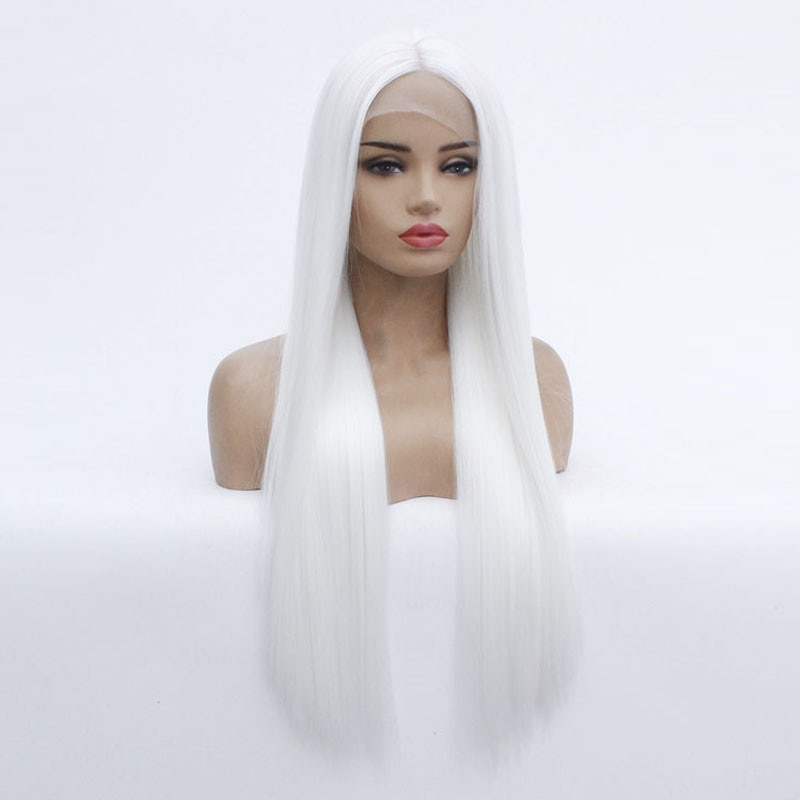 Snow White Long Silky Straight Hair Cheap Synthetic Lace Front Wig Heat Resistant Glueless Lace Wigs Synthetic Hair for Women  - buy with discount