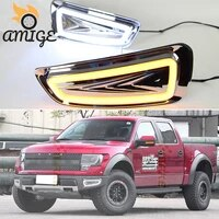 led drl daylights for ford raptor svt f150 f 150 2010 2011 2012 2013 2014 yellow turn signal daytime running light car foglamp