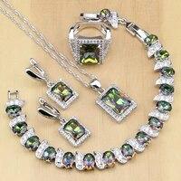 sterling silver jewelry mystic rainbow fire zircon jewelry sets women wedding earringspendantnecklaceringsbracelet