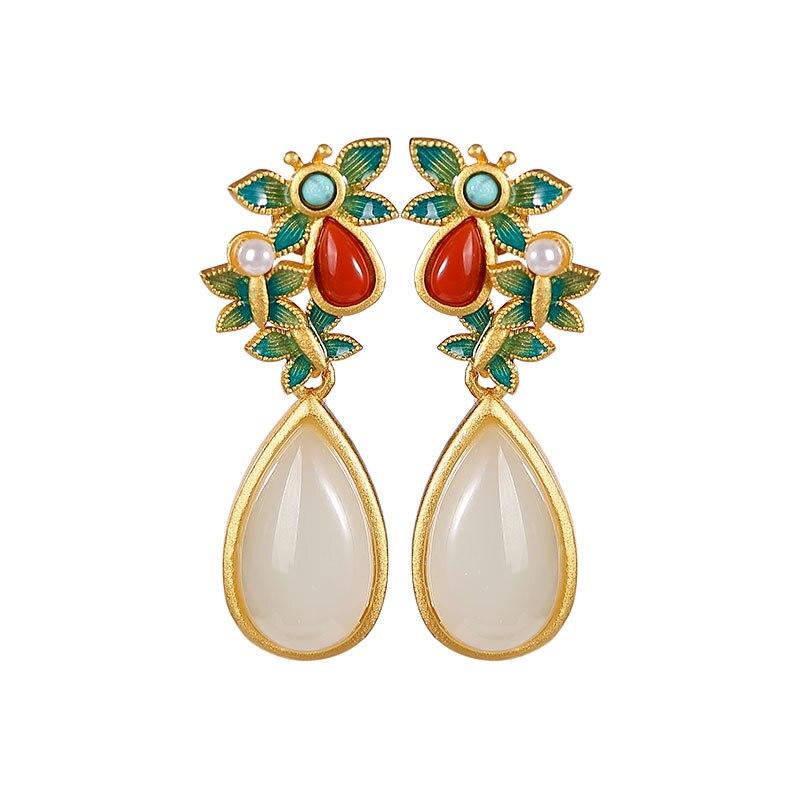 S925 sterling silver gold-plated cloisonne Hetian jade pearl stud earrings vintage butterfly drop-shaped women's earrings