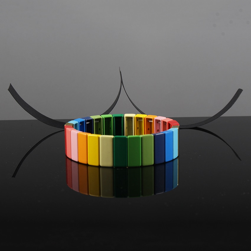 Pulsera con mosaico de esmalte Multicolor Aleación de Bohemia pulsera apilable de arcoíris para mujer regalo para Amiga