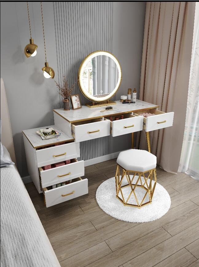 Простой туалетный столик, роскошный красный туалетный столик, скандинавский туалетный столик с имитацией мрамора в стиле принцессы