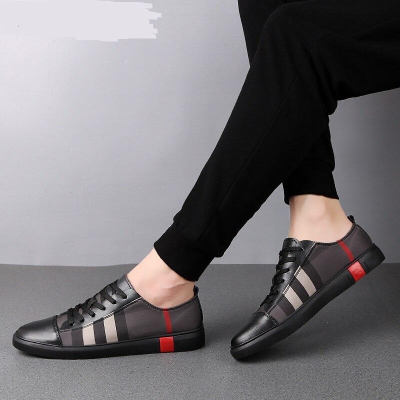 Moda dos Homens Sapatos de Skate Tênis de Moda de Alta Sapatos de Couro Respirável Qualidade Formadores Sapatos Casuais Genuíno