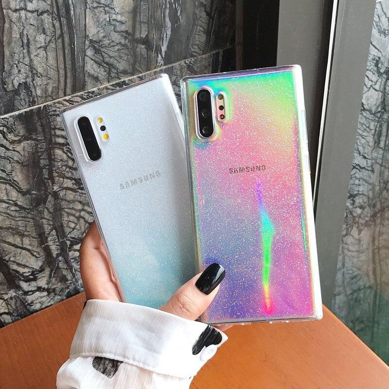 Moda polvo brillo Rosa funda de teléfono para Samsung S8 S9 S10 PLUS Note 8 Note9 10 Pro transparente suave TPU a prueba de golpes contraportada