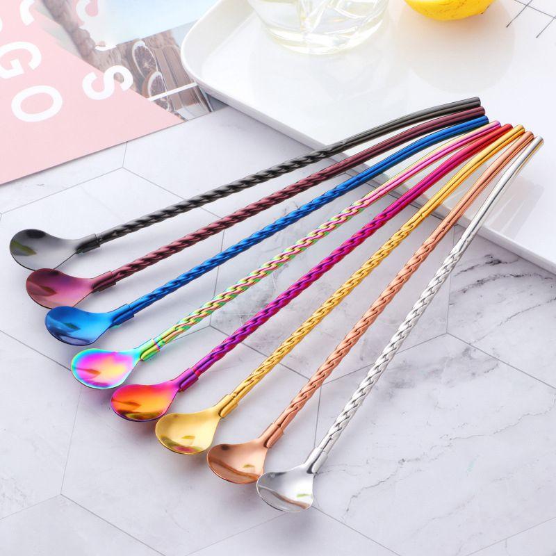 1 Uds. 8 colores cuchara de paja de acero inoxidable batidos para beber té barra de café pajitas para bebida accesorios para fiestas de cocina