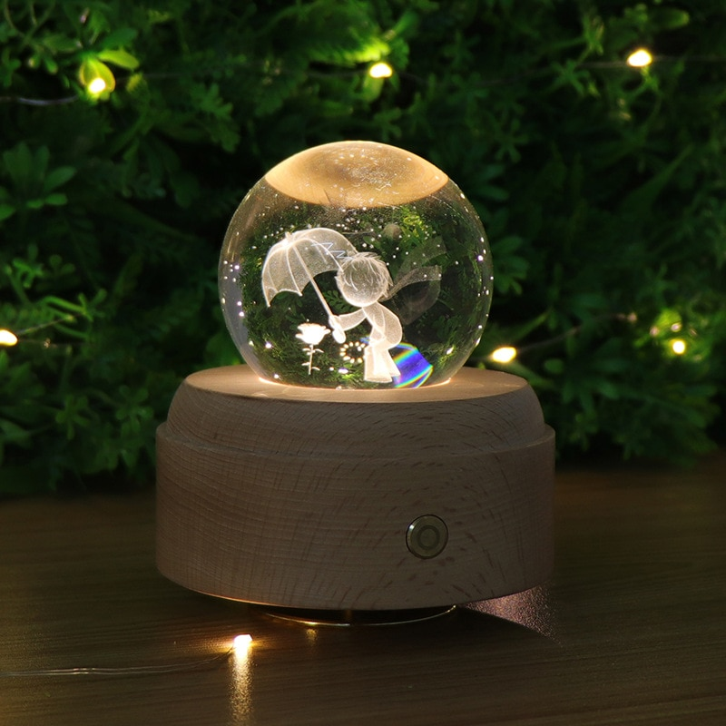 Moon Crystal Ball Night Light Wooden Music Box Music Box Rotary Innovative Birthday Gift Touch dimming little Prince enlarge