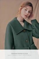 double sided woolen coat womens 2021 winter fashion long coat temperament belt