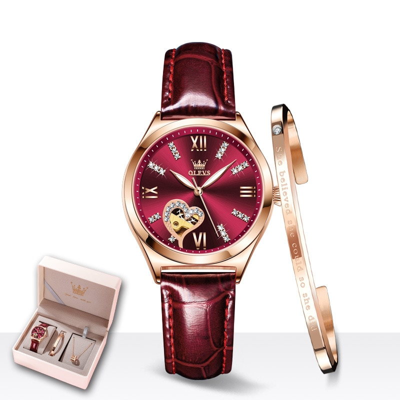 Women's Watch Fashion Set Gifts Mechanical Women's Watch Waterproof Ladies Watch enlarge
