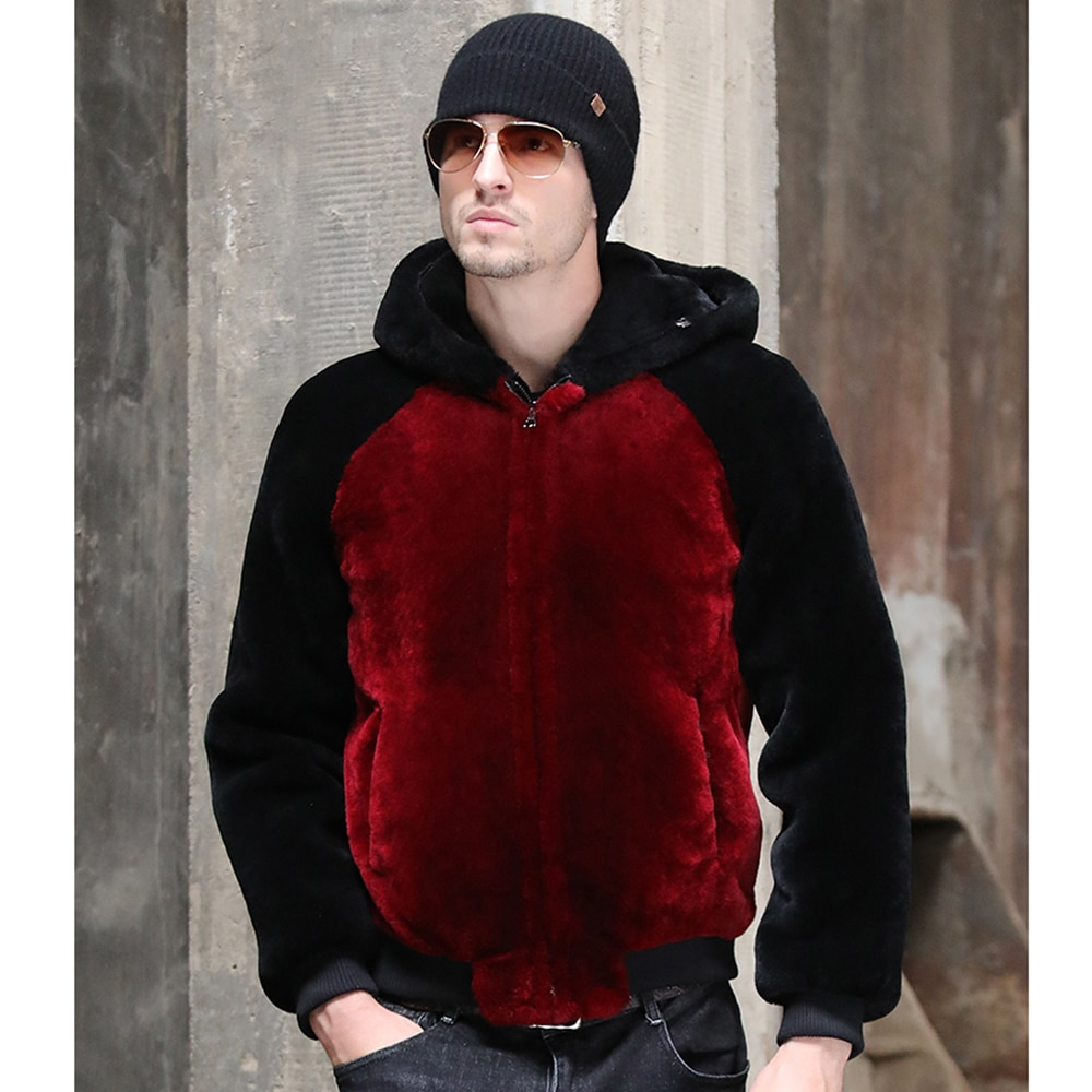 SANI New Design Real Sheep Fur Men Jacket Genuine Sheep Mens Shearling Jacket Male Casual Winter Jacket Warm Men Fur Outwear
