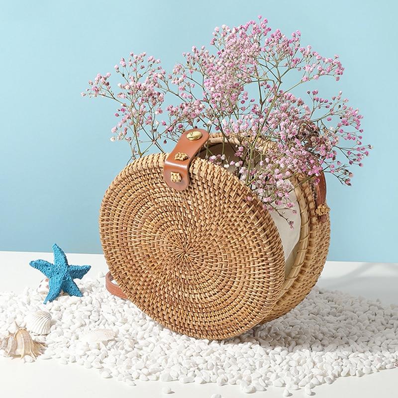 Tangde round straw bags for women 2020 summer woven beach bag handmade rattan bag Bohemia crossbody shoulder bag