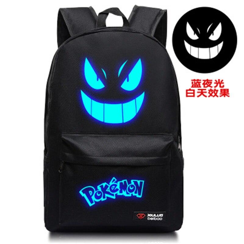 Mochila de Pokémon de 45cm, Bolsa Escolar Geng Gui, Pokémon Go, bolsa luminosa genial, regalo de Evento de Navidad para niños