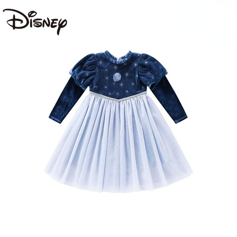 Disney Children's Clothing Girl's Long-Sleeved Dress Kids' Skirt Baby Princess Dress 2021 Autumn New Western Style