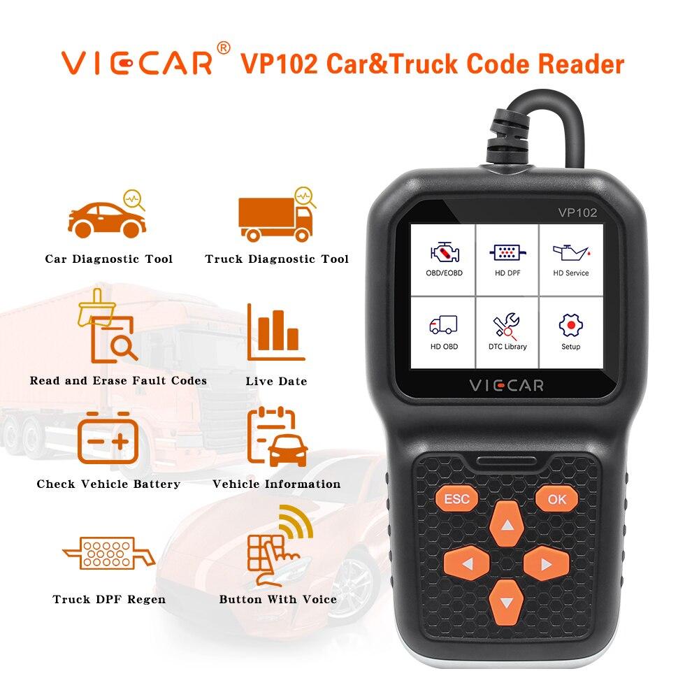 Viecar VP102 for Car and Truck Scanner 2 in 1 Diagnostic Tool OBD OBD2 Code Reader 12V/24V J1939 J1587 J1708 For Scania HD Truck