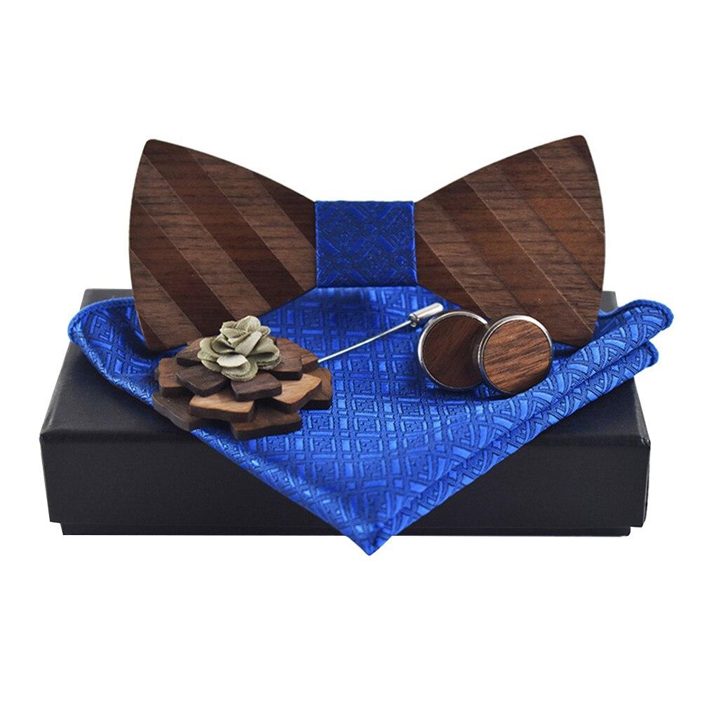 Broche ajustable corbata juego de gemelos moda Pocekt cuadrado caja de boda para fiesta pañuelo elegante pañuelo de regalo pajarita tallada