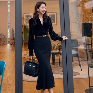 spring style Tucked waist was thin and temperament wrapped hip fishtail long skirt office sexy party for women dresses