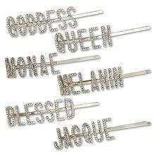 1PC błyszczące litery kryształowe szpilki dżetów spinki do włosów metalowe Barrettes kobiety akcesoria do stylizacji włosów królowa/bogini/błogosławiony
