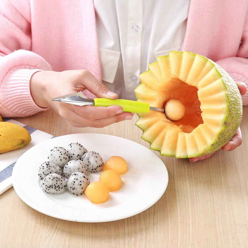 2 in 1 Stainless Steel Double-end Melon Baller Scoop Fruit Spoon Ice Cream Sorbet Bakeware Cooking Vegetable Tool Kitchen Gadget practical chic quality melon scoop and baller