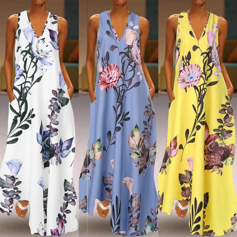 ZANZEA 2020 Fashion Summer Sundress Women Long Maxi Vestidos Floral Printed Bohemian Dress Ladies Casual Pockets Long Tunic Robe