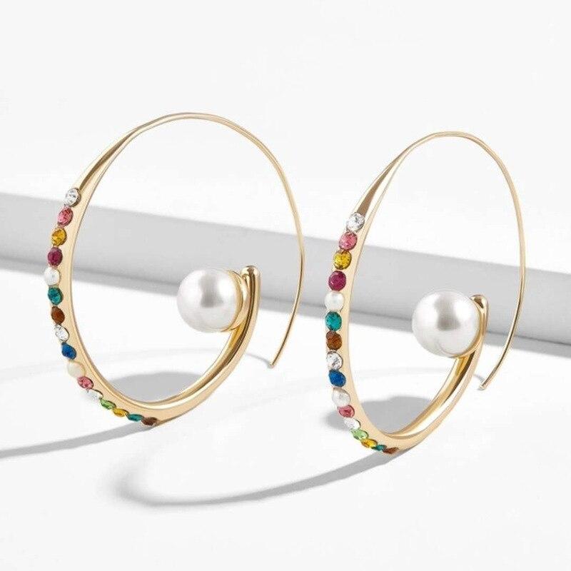 Pendientes De perlas redondas multicolores para Mujer, joyería Bohemia, Aretes De Mujer, Pendientes colgantes bohemios dorados, accesorios De boda para fiestas