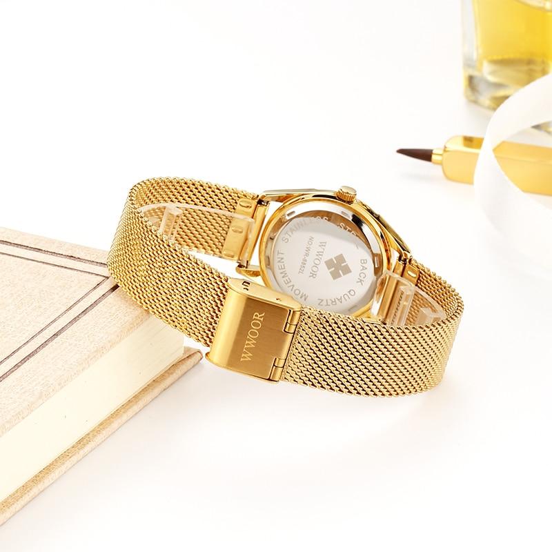 WWOOR Gold Stainless Steel Mesh Belt Women Watch Fashion Diamond Small Wrist Watch Waterproof Ladies Gift Watches Zegarek Damski enlarge