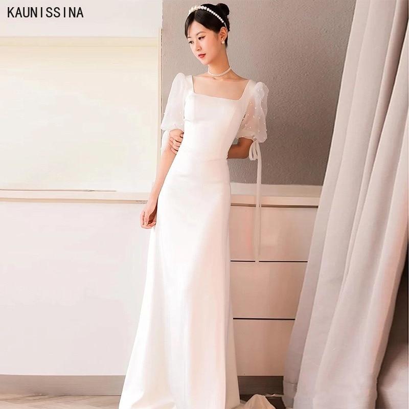 KAUNISSINA حورية البحر فستان الزفاف بياقة مربعة كم قصير طول الأرض الساتان زي العرائس حجم كبير أبيض بسيط فساتين العروس