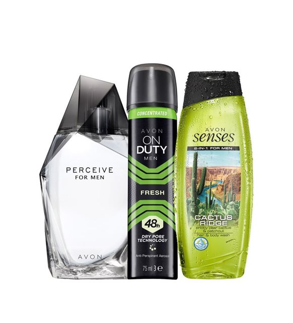 Avon Perceive Male Perfume Deodorant and Hair Body Shampoo Set pcs set Economic Gift New Season For Men