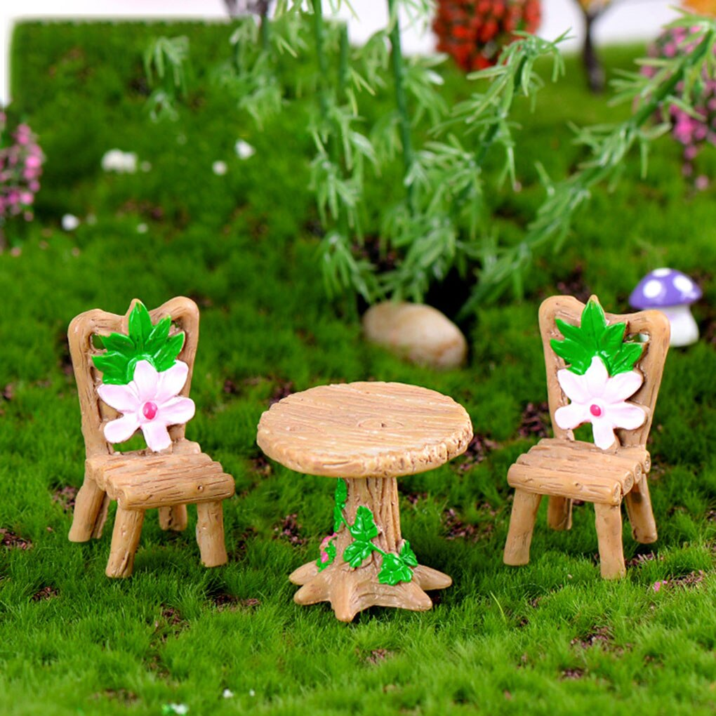 3PCS Micro Landscape Ornament Table Chair Resin Craft Fairy Garden Miniature Terrarium Figurine DIY Waterproof Decoration Kit