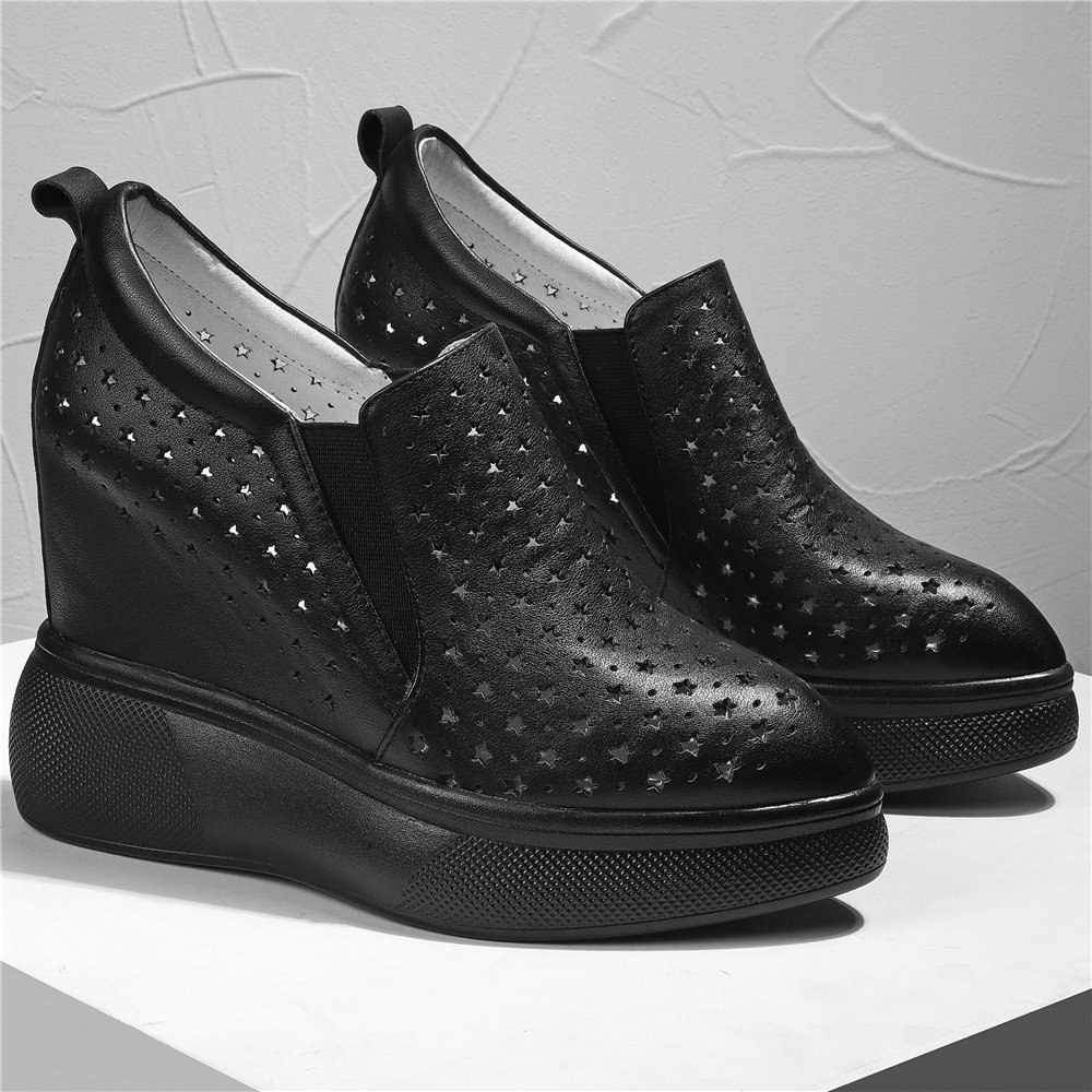 Fashion Sneakers Women Breathable Genuine Leather Wedges High Heel Ankle Boots Female Summer Pointed Toe Platform Pumps Shoes  - buy with discount
