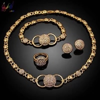 yulaili latest fashion 18 gold plated x heart necklace stud earrings bracelet ring for women fine party jewelry sets wholesale