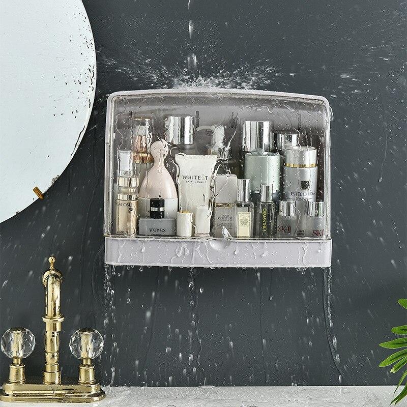صندوق تخزين مستحضرات التجميل للحمام ، حجم كبير ، مقاوم للماء والغبار ، للتعليق على الحائط ، للعناية بالبشرة