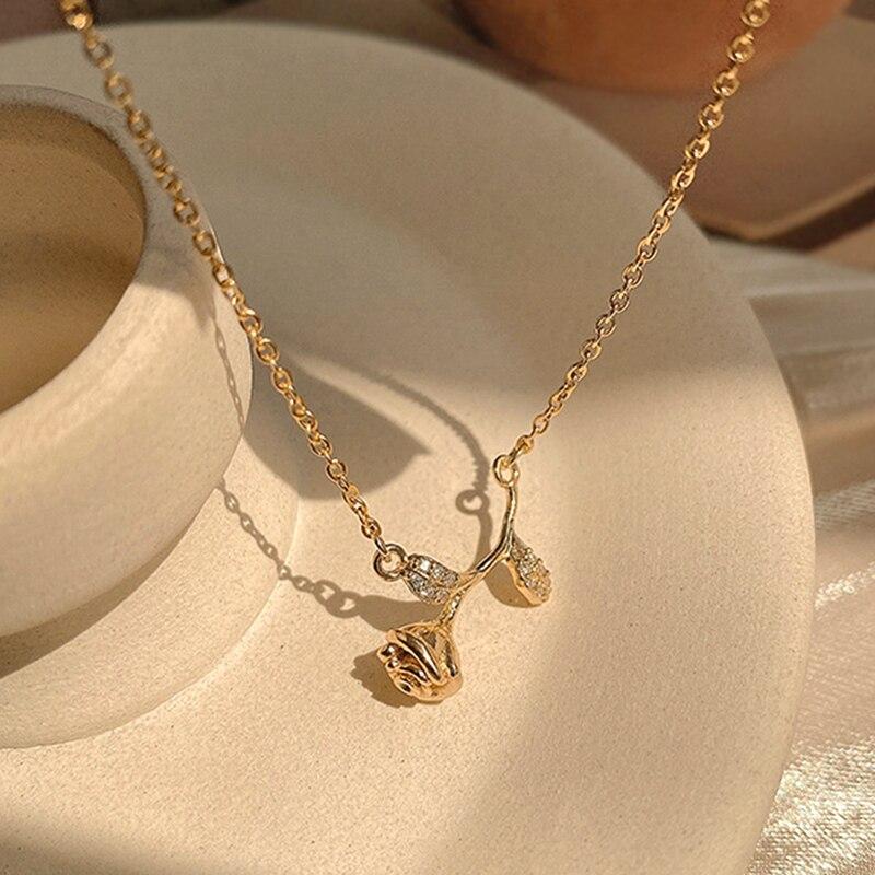 Новая мода 14K, покрыто настоящим Золотая Роза цветок, растение, свадебная брошь, цепь кулон ожерелье для женщин темперамент высокое качество...