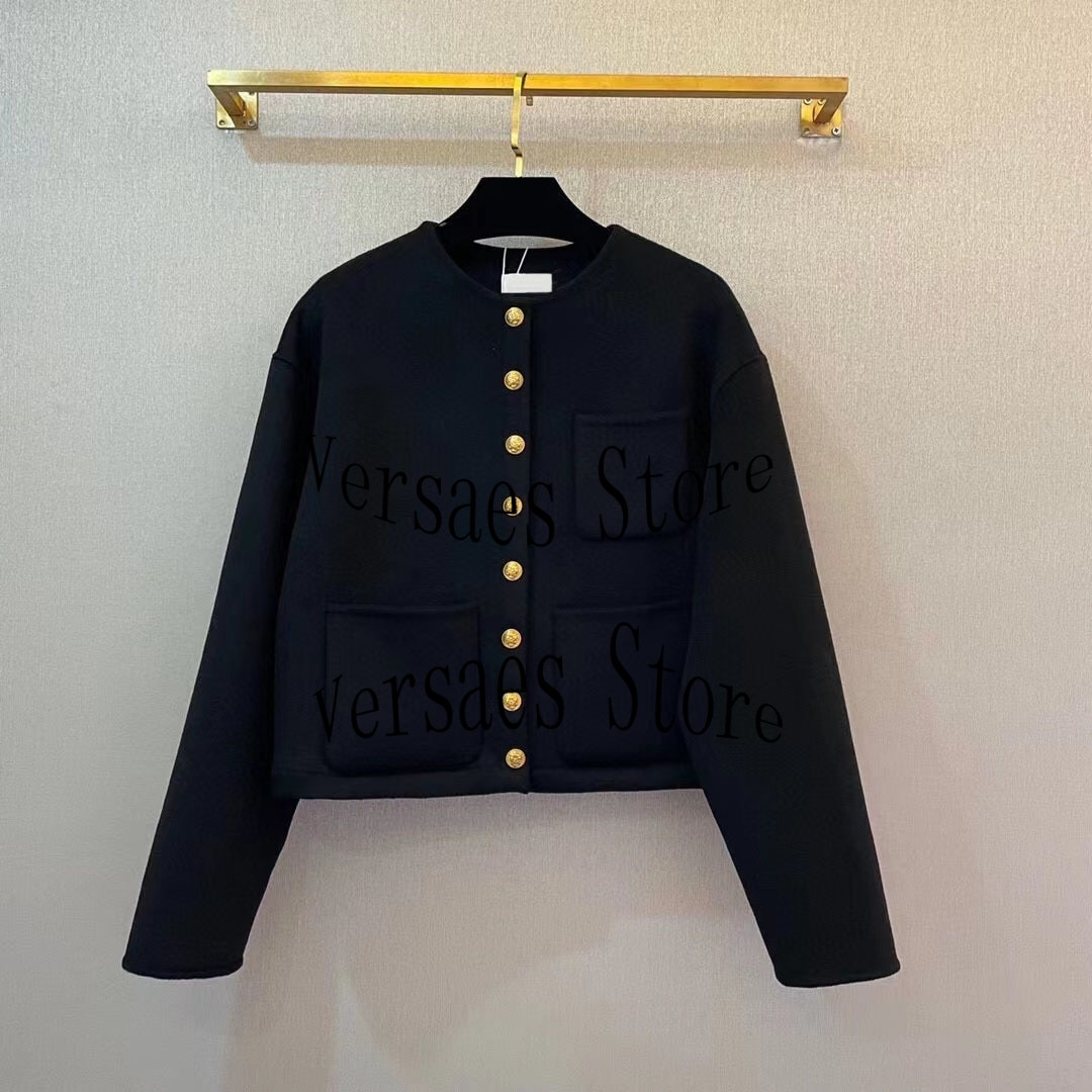 2021 luxury design double-sided wool tweed fashion women's round neck coat gold embroidered single breasted long sleeved top enlarge