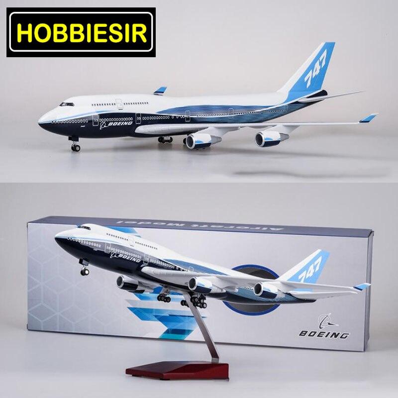 47CM samolot 1/150 skala powietrza Boeing B747 samolot międzynarodowy Model linii lotniczej W cokole światła i koła Diecast żywica z tworzywa sztucznego samolot