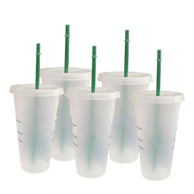 700ml Reusable Color Change Flash Shiny Coffee Cups Plastic Tumbler With Lid Plastic Cup With Logo Coffee mug For Coffee shop недорого