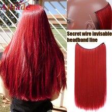 AILIADE Clip in Haar Extensions Invisible Draht Geheimnis Fisch Linie Haarteile Seidige Rot Lange Gerade 22 zoll Haar zubehör
