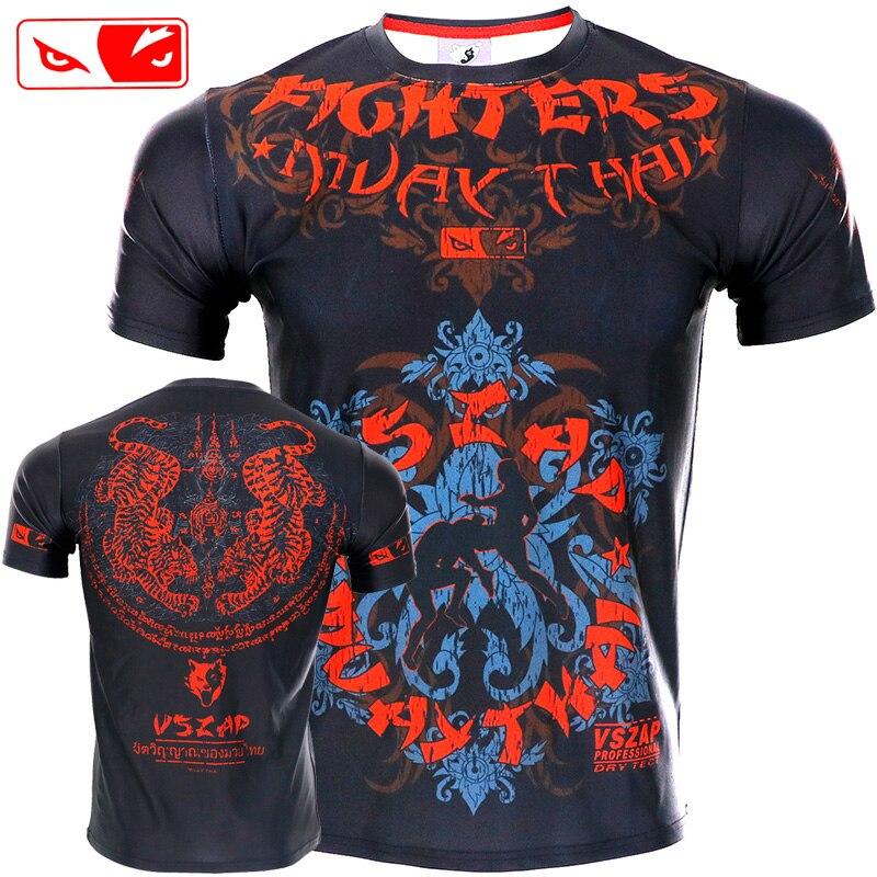 VSZAP ajustado elástico ropa de construcción de cuerpo Tigre Muay Thai boxeo BJJ MMA Sanda Jerseys