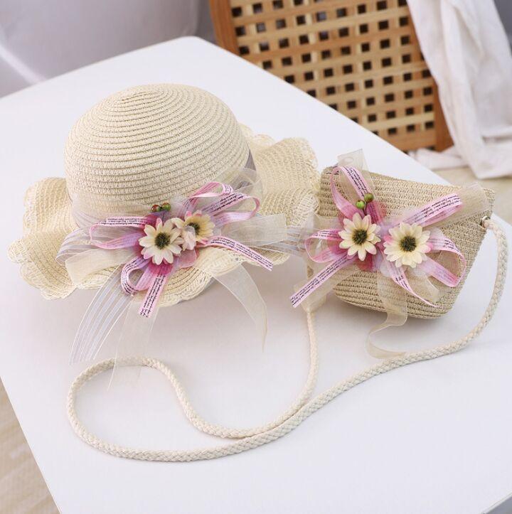 ¡Producto en oferta! Conjunto de dos piezas de verano para niños, bolso de hombro floral con Margarita bonita y sombrero de paja, gorro para bebé, gorro para el sol niña sombrero Panamá gorros