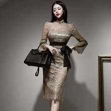 2021 Spring New Elegant Formal Dress Sweet Lace Long Sleeve lace-up Hollow out Slim Pencil Dress Bus