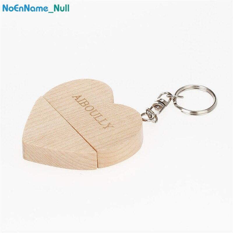 New  Customizable company logo Wooden heart USB flash drive Pendrive2.0 4GB 8GB 16GB 32GB 64GB Memory stick