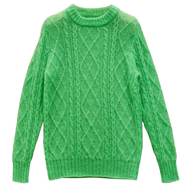 SHUCHAN 60% Mohair SWEATER WOMEN O-Neck Dropshipping Pink Wool Spandex Acrylic High Street  Autumn Winter Full Sleeve