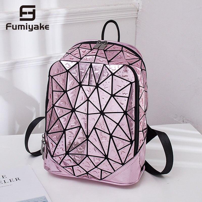 Светящийся рюкзак правильной геометрической формы, с блестками, лазерный женский рюкзак для ноутбука, сумка для книг, школьный повседневный рюкзак для путешествий, женский рюкзак