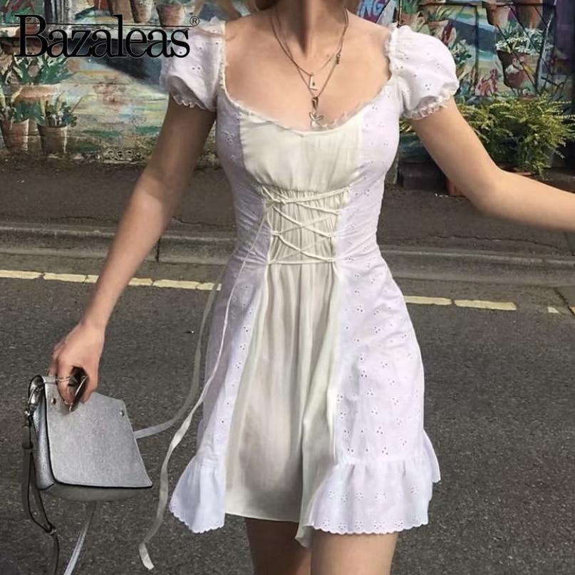 Bazaleas frança laço branco bordado vestido feminino vintage cintura bandagem gravata cruz vestidos femininos moda babados