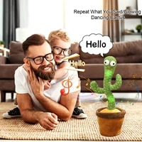 dancing cactus 120 song speaker talking usb charging voice repeat plush cactu dancer toy talk plushie stuffed toys for baby gir