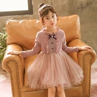 winter long sleeve lace kids princess dresses for girls 3 10 years flower party girls dress formal wedding party dress