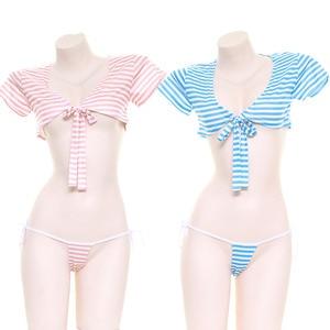 Women Japanese Summer New Kawaii Lace-up Low-chest T-shirt Sleepwear Girls Striped Sexy Ultra Short Tops & Panties Suit pajamas