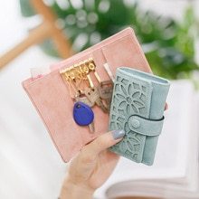 Women Key Bag Small Change Wallet Sweet Flower Hollow Out Mini Lovely Multi-functional Keychain Hold