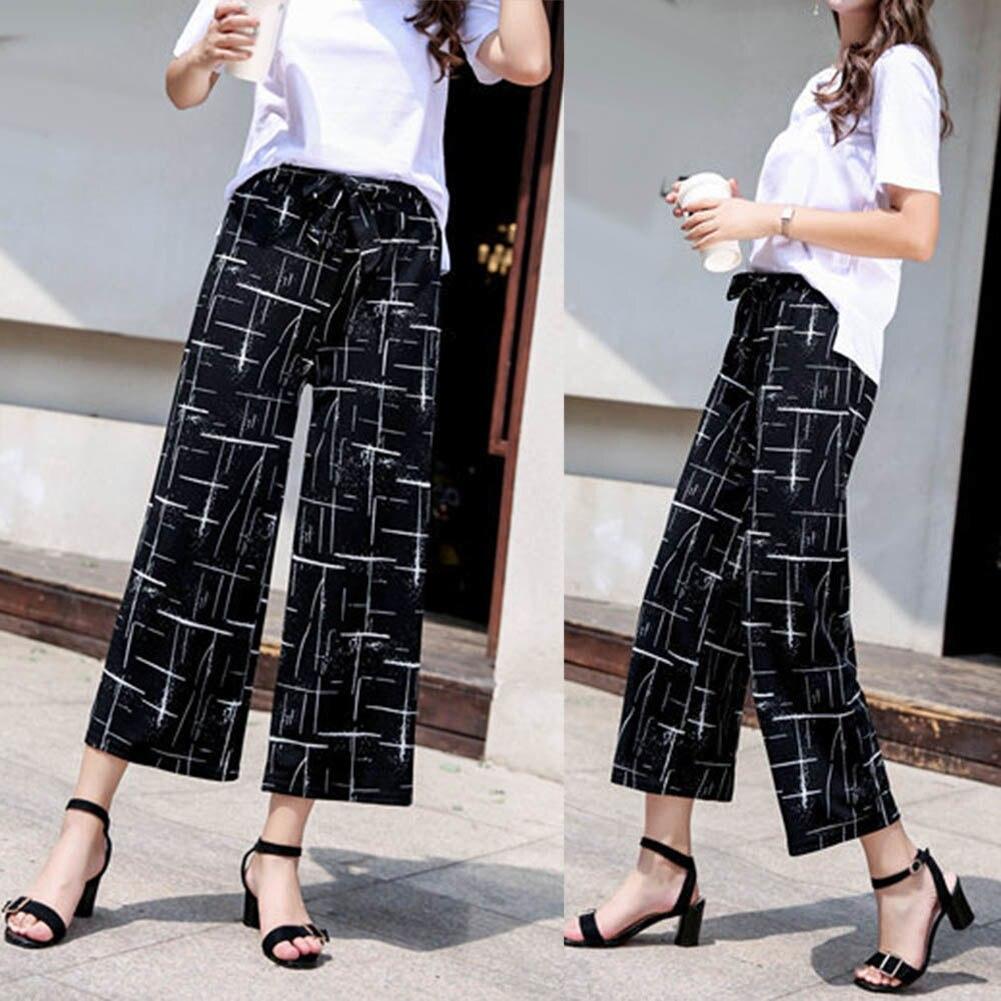 Fashion Women Stripe Loose Straight Wide Leg Drawstring Pants Ninth Trousers Stripe design perfect gifts for women