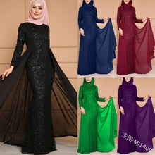 Vestido abaya largo con lentejuelas para fiesta, maxi vestido con mangas largas de talla grande kaftan Ramadán EID, vestido marroquí Judaic islámico de dubai, Túnica musulmana